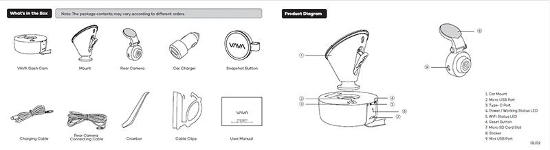 bộ sản phẩm VAVA Dual Dash Cam 2 mắt trước sau